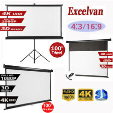 100 Inch Projector Screen 3D 4K 16:9 HD 1080P Portable Projection Outdoor Home