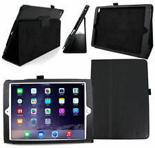 Folding Folio Cover with Kick-Stand in Black Faux Leather for Apple iPad Air 2
