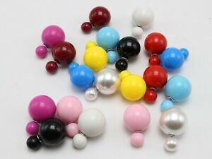 10 Pairs Candy Color Pearl Double Side Front and Back Post Ear Stud Earrings