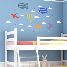 Childrens Wall Sticker - Aeroplane Hot Air Balloon Helicopter Stars Clouds Decal