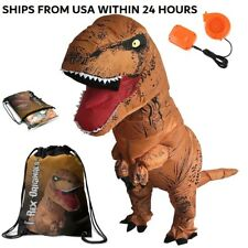 Dinosaur Costume Adult T-Rex Inflatable Suit with Exclusive Brown Dino Bag