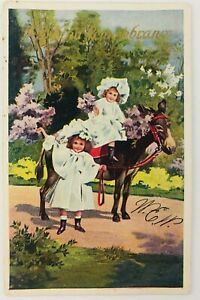 Vintage With Kind Remembrance Postcard Two Girls One Riding a Donkey Waving 1909