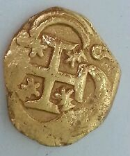 GOLD COIN 2 ESCUDO Philip IV Mid 1600's Cob Coin RARE TREASURE