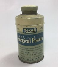 Vintage Rexall Antiseptic Surgical Powder Tin 1oz Almost Full Astringent