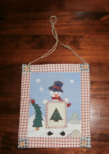 "Snowman Wallhanging 9"" x 10.5"" Applique Quilted Christmas Winter"