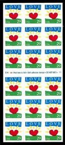 1¢ WONDER'S ~ UNFOLDED MINT BOOKLET PANE W/ 29¢ LOVE SUNRISE (FV = $5.22) ~ T392