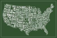 USA Airports Abbreviation Code Green Poster 24x36 inch