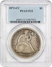 1872-CC $1 PCGS F12 - Carson City Silver Dollar Rarity - Liberty Seated Dollar