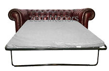 Chesterfield Antique Oxblood Red Two Seater Sofa Bed Hand Made Genuine Leather