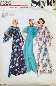 Vintage 1975 DRESS WITH FLOUNCE SLEEVE Sewing Pattern SIZE 16 (ST1392)