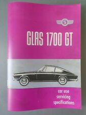 GLAS 1700 GT booklet REPRODUCTION OF VERY RARE SERVICING BOOK 1964