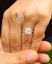 14K WHITE GOLD CUSHION CUT NATURAL DIAMOND ENGAGEMENT RING BRIDAL HALO 1.70CTW
