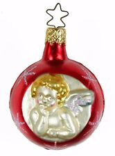 Glass Red Gold Angel Ball Christmas Ornament Holiday Decoration