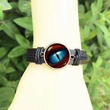 Dinosaur eye Black Bangle 20 mm Glass Cabochon Leather Charm Bracelet