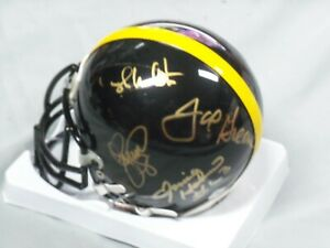 Pittsburgh Steelers, Steel Curtain (4), Signed Black, Steelers, Mini Helmet