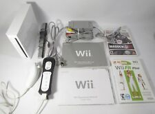 Lot Nintendo Wii White Console System Bundle Controller and Nunchuck Madden 07