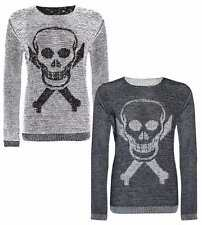Womens Skull and Bone and Cross Print Knitted Halloween Jumper Sweater Top