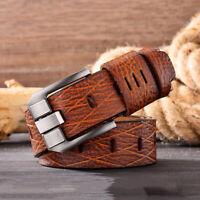 Men's Belt Leather Belt Men Genuine Leather Belt Strap Pin Buckle Retro Belt