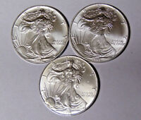 Lot of 3 American Silver Eagles 1994 1995 1996 .999 Fine Silver Dollars