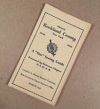 1936 ROCKLAND COUNTY NY NEW YORK Folding Site Seeing Guide with Map, N.S.D.A.R.