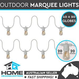 10x String Lights Festoon Wedding Fairy Outdoor Marquee Retro 20m Vintage White