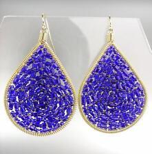 PRECIOSO ARTISANAL Azul Zafiro Cristales Oro Pendientes de Araña 15