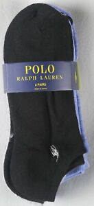 Polo Ralph Lauren 6 Pairs Black Grey Blue Ankle Athletic Socks 9-11 NWT
