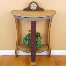Half Moon Wine Barrel Side End Chair Sofa Wall Table Rustic Furniture Pub Bistro