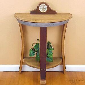 Half Moon Wine Barrel Side End Chair Sofa Wall Table Rustic Furniture Pub Bistro