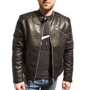 Pierre Cardin Casual Men PU Leather Jacket Biker Motorcycle Zip Coat Slim fit