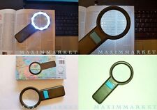 "5X LED Illuminated Hand Held Pocket Magnifier with 2-3/4"" Glass Lens"