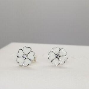 PANDORA White Enamel FLOWERS Earring Studs