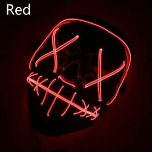 Halloween LED Glow Purge Mask 3 Modes EL Wire Light Up The Movie Costume Party