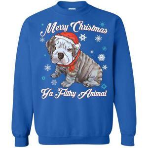 Christmas ugly Sweater Hoodie - English Bulldog Puffy Funny Gift Idea