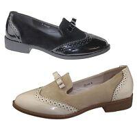 Womens Slip On Shoes Ladies Fringe Flat Oxford Loafer Vintage Brogues Pumps Size
