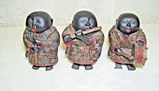 Chinese Musician Figures Set of Three drum fife flute