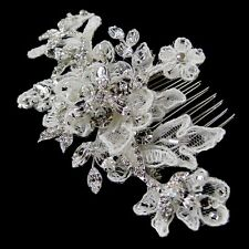 Vintage Style Silver Rhinestone Floral Lace Bridal Wedding Hair Comb