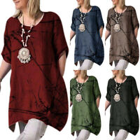 Oversized Women Summer Short Sleeve Loose Baggy Comfy Blouse Tunic T Shirts Tops