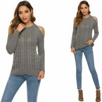 Shoulder Sweater Tops Casual Long Sleeve Fashion Sweater Women's Knitted Sweater