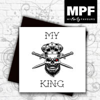 'My King' hand made tattoo skull style birthday/anniversary card - gem stone eye