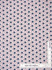 Patriotic Red & Blue Stars on White Cotton Fabric Studio American Anthem - Yard
