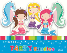 GIRLS BIRTHDAY PARTY SUPPLIES MERMAID CAKE CANDLES 5 PICKS THE LITTLE TOPPER DEC