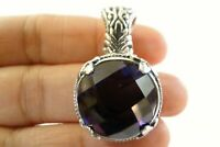Round Purple Amethyst Ornate Solitaire Enhancer Bail 925 Sterling Silver Pendant