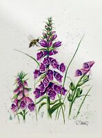 Sheerwatercolors Original Painting Foxgloves Flowers Bee Botanical Floral Decor