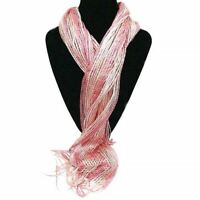 New Ladies Shimmer Soft Scarf Metallic Sparkly Scarves Wrap Tassels