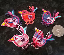 5 x Sew Iron On Applique Embroidered Patch Motifs - Check Birds Chickens Retro