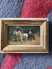 Ölbild Pferde Kutsche Antik