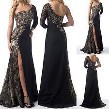 UK Women Sexy side Sleeves Lace Stitching Split elegant Long Dress Evening Praty