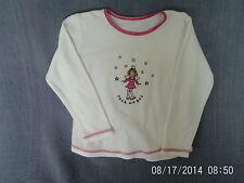 Girls 4-5 Years - White & Pink Velour Long Sleeve Top, 'Rock Angel' Motif - M&S
