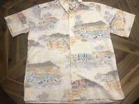Mens Reyn Spooner Hawaiian Aloha Shirt Sz Large Surf Canoe Beach Sand Umbrella